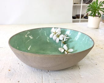 Large salad bowl, Ceramic bowl, Fruit bowl, Serving bowl, open bowl, Large turquoise bowl, Pottery bowl, centerpiece bowl, modern bowl