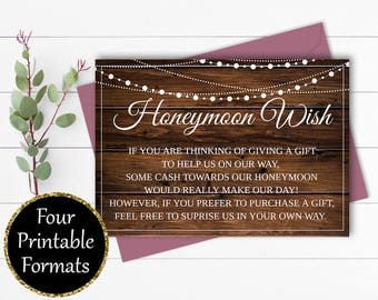 Honeymoon Wish Card - Wedding Wishing Well Wedding Invitation Insert - Honeymoon Fund - Instant Download - Wishing Well Invitation Insert