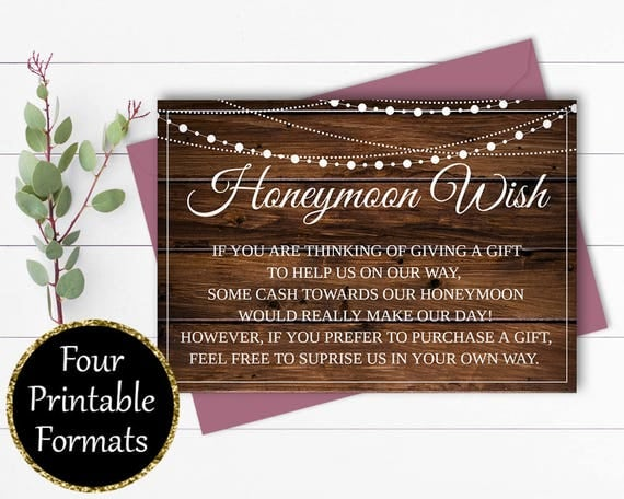 Wedding Gift Wording For Honeymoon: Honeymoon Wish Card Wedding Wishing Well Wedding Invitation