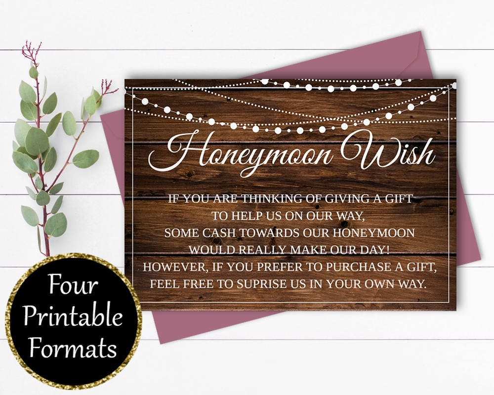 Wedding Invitations Money Gift Wording: Honeymoon Wish Card Wedding Wishing Well Wedding Invitation