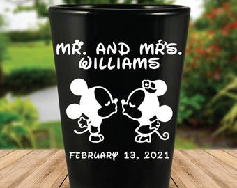 Custom Classic Disney Themed Wedding Favor Black Shot Glasses