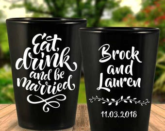 "Custom ""Eat Drink and Be Married"" 2-Sided Black Wedding Favor Shot Glasses"