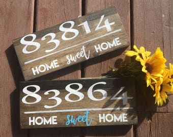 HOUSEWARMING GIFT/Zip Code Sign/First Home Gift//Wedding Gift Idea/Rustic Home Decor/Engagement Gift/Housewarming Gift/Home Gift/Home Sweet