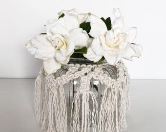 Macrame vasewrap, flower wrap