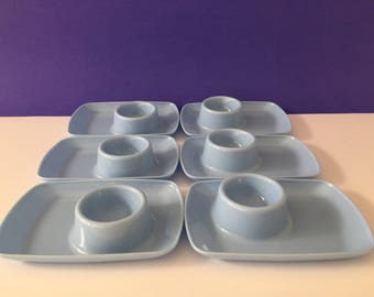 Vintage Tamco Blue Egg Cups x 6