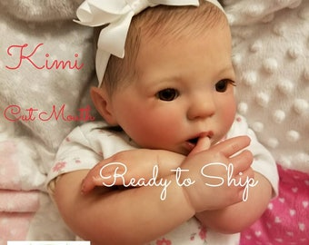 Reborn Baby Kimi, 18in, Ready to Ship,  Cut Mouth
