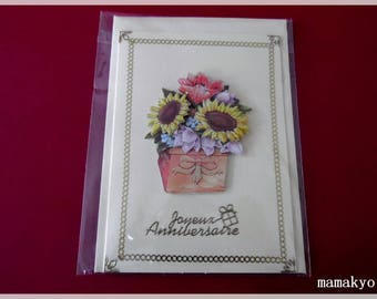 """Spring flowers"" birthday 3D card"