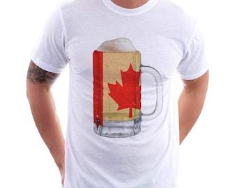 Canada Country Flag Beer Mug Tee, Home Tee, Country Pride, Country Tee, Beer Tee, Beer T-Shirt, Beer Thinkers, Beer Lovers Tee, Fun Tee