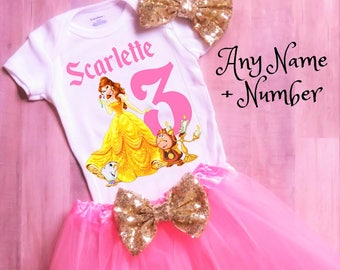 Belle Outfit Girl, Belle Tutu, Beauty and the Beast Tutu, Belle Shirt, Beauty and the Beast Birthday, Belle Dress, Pink and Gold