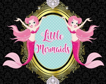 One of a Kind Girly Logo Design - Little Mermaids - Facebook Business profile image