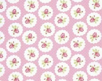 END OF BOLT - 5 Yards - Tanya Whelan - Lulu Roses - Lotti - Pink - Free Spirit - Shabby Chic Fabric - 100 % cotton , Quilting
