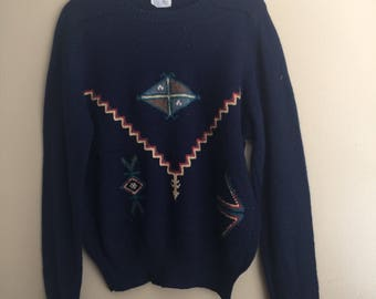 Vintage Izod Navy Tribal Print Sweater