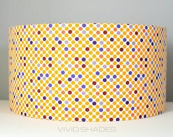 Yellow geometric fabric lampshade handmade by vivid shades, stylish spots polka dots pattern custom funky gift ceiling pendant lamp base