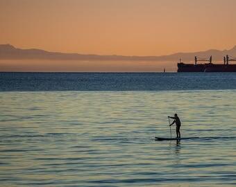 Digital download, English Bay Beach Vancouver, Stanley Park, Sea, Paddler, sunset, dusk, west end