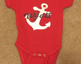 Red Baby Boy Onesie with Metallic and Navy Anchor and Name