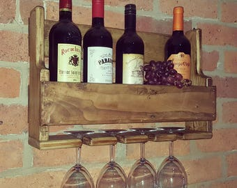 Wine Rack 50cm, rustic reclaimed wood, pallet wood, mothers day gift, housewarming, anniversary