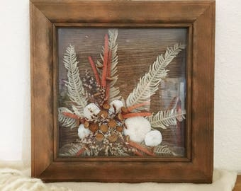 Vintage 70's Dried Flower Collage Shadow Box Art : Boho Beach House Decor