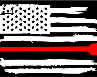 American flag thin Red line Firefighter Halligan Axe Fire Department vinyl die cut sticker decal Pledge of Allegiance weathered distressed