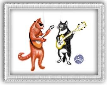 Cool cats - art print