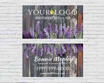 Rusty Essential Oils Business Card | Gray Wood | Printable | Download | Digital File | Personalized | Independent Distributor | Lavender