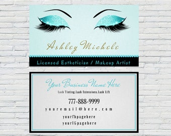 Teal Esthetician Business Card, Lash Extensions, Make up Artist, Lash Artist Business Card, Digital File, Printable, Download, Personalized