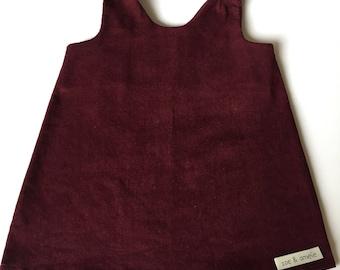 Girls cord pinafore dress in plum