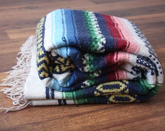 Vintage Mexican Blanket // Striped Southwestern Blanket Fringe Tribal Aztec Throw Rug Saltillo