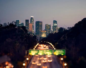 Downtown Los Angeles at night, Los Angeles Photography, Downtown LA at night, Los Angeles print, bokeh, magical, dreamy, fine art print