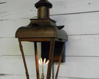 Copper Lantern Pendant Light Fixture Rustic Outdoor Antique Vintage Modern Gas Or Electric