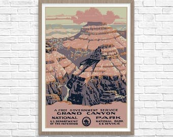 Grand Canyon National Park Poster 1938, WPA Poster, National Park Art, Great Outdoors Poster WPA National Parks Poster, WPA Poster
