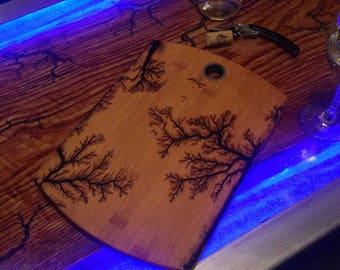 Board has cutting lightning fractal