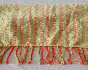 Hand woven scarf made of Flammgarn, Apple green