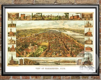 Harrisburg, Pennsylvania Art Print From 1855 - Digitally Restored Old Harrisburg, PA Map Poster  - Perfect For Fans Of Pennsylvania History