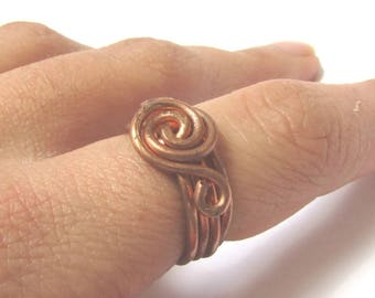 Swirl Rings for Women, Women's Statement Band Rings, Copper Anniversary Gift for Her, Boho Chic Jewelry Copper, Unique Ring Band for wife