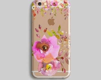 Watercolor iPhone 7 Plus Case, Floral Clear iPhone 6S Case, Flowers Clear Phone Case, Rubber Phone Case, Transparent iPhone 7 Case