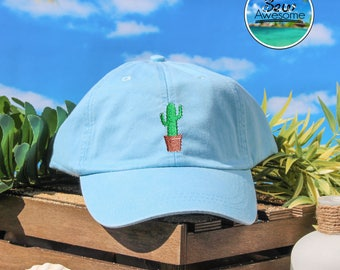 Cactus Embroidered Baseball Hat, Cute Cactus Hat, Cute Gift, Choose Your Own Color Hat, Customized Hat, Low Profile Hat, Dad Hat