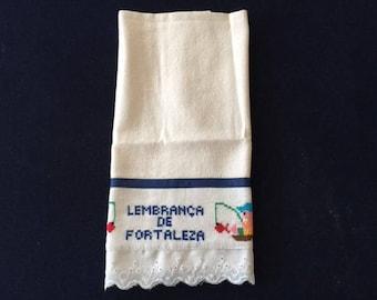 Kitchen Towel with a Fisherman - Blue Stripe Design
