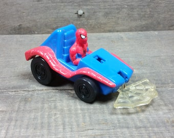 Vintage Spiderman in a car Action Figure PVC Plastic figurine American comic Book Superhero Published by Marvel Comics