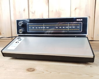 Vintage 70s RCA S 10185 Solid State FM-AM Table Radio Wood Panel Analog Dual Radio Faux Wood Grain Electronic am fm