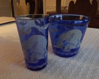 "Vintage Hazel Atlas Cobalt Blue Glass Ships Windmills Ice Bucket 4 1/4"" and Tumbler"
