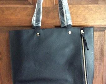 Neiman Marcus Black Leather Bag Purse Tote Handbag NEVER USED Handles Still Wrapped