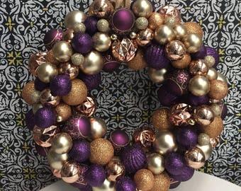"16"" Purple and Gold Ornament Wreath   Christmas Ornament Wreath"