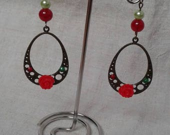red flower and bronze earrings
