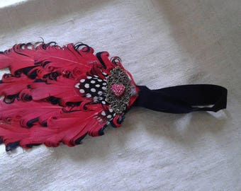 headband black and red feathers adorned with a print