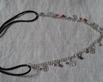 multicolored beads and silver flowers headband