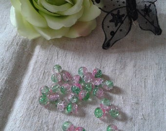 set of 30 Green and pink cracked beads