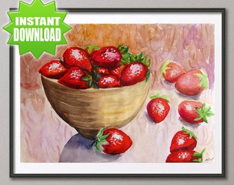 Strawberry Watercolor painting Still life Art print Kitchen decor Fruit print Original artwork Fruit watercolor Summer art Strawberry print