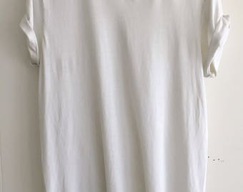 90's Vintage Worn-Out Distressed White V-Neck T-Shirt with Rolled Sleeves - Men's size S/M or Woman's S/M