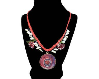Red Blossom – Art on Glass Necklace – one size fits all