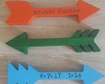 Arrows//Adventure//Special Dates//Kids//Nursery//Wooden//Free Standing//Personalised//Room Decor//Door Sign//Baby Shower//God Child//Gift